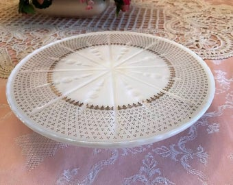 Vintage Ivory White Cake Plate with 22k Gold Paint - circa 1950s - Anchor Hocking Glass Co