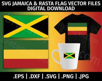 Jamaica Flag Clipart SVG Vector - Cutting Files for Cricut, Silhouette - eps dxf svg png jpg - Rasta, Cut File, Digital Files, Jamaican Flag