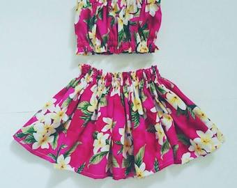 kids hula skirt, girls hula skirt, outfit, baby / toddler  luau outfit, 2 piece hula set,