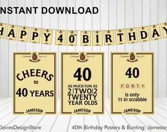 Irish Whiskey 40th Birthday Bunting and 3 x Posters *Instant Download*