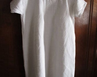 Antique French linen chemise. White hand made short sleeved linen nightdress. Re-enactment clothing. Period ladies undergarments. Ideal gift