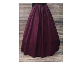 Skirt Only-Renaissance Civil War Victorian Southern Belle LARP Cosplay Dickensonian Pioneer - burgundy red - full maxi skirt dress costume