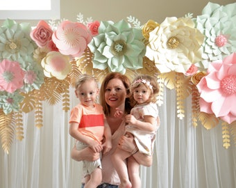 GIANT PAPER  FLOWERS set. Flowers and leaves only. Seattle giant flowers