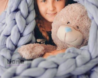 Chunky Blanket - Throw Blanket -Giant Blanket - Merino Blanket - Bulky Blanket - Chunky Blanket - Hand Knitting Blanket - Large Blanket