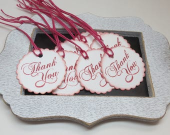 Thank you tags, 12 thank you tags, cardstock tags, tags, ready to ship tags, white and pink tags, hand punched and stamped tags