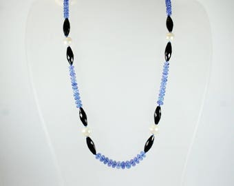 A Beautiful Tanzanite Freshwater Pearl and Black Spinel Beaded Necklace