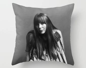 Joni Mitchell Decorative Pillow, Square pillow with\ without zipper