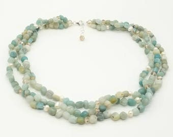 """19"""" Amazonite, Cultured Fresh Water Pearls and Crystals Nekclace"""