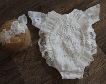 Vintage romper + tieback baby girl - photo prop - newborn prop - newborn romper- photography Prop - sitter romper - newborn girl romper set