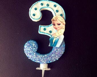 Birthday Candles 6″ Frozen/Birthday Large Candle Frozen/Birthday Candle Frozen/Frozen Number Candle/Elsa Birthday/Elsa Birthday Candle