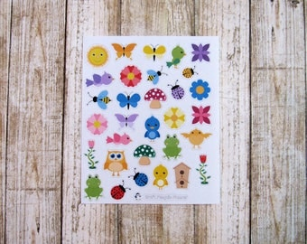Spring deco stickers, Kawaii Spring stickers, bird stickers, flower stickers, frog stickers, butterfly stickers