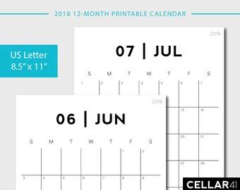 2018 Calendar, Printable Calendar, Monthly Planner, Monthly Printable Calendar, Printable Planner, 2018 Printable, Minimalist Calendar