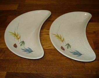 Two Franciscan Autumn Leaves Crescent Salad Plates