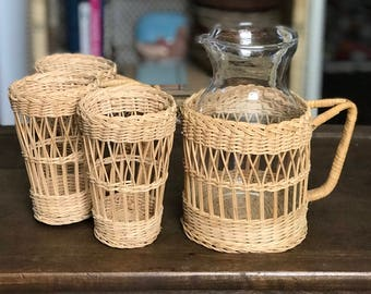 Wicker Pitcher & Mug Set (3)