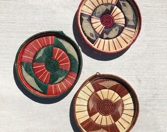 Vintage Handwoven Flat Sisal Basket Set