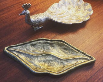 Gilt-Metal Gold-Coloured 'Kiss' Jewellery Tray by Doing Goods