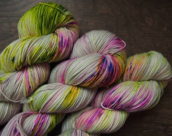 Neon Speckled on Platinum Superwash Merino - hand dyed yarn