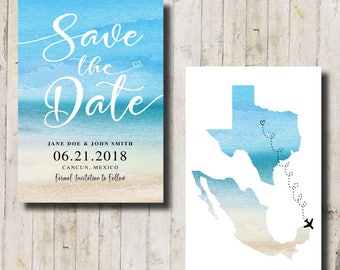 Beach Wedding Save the Date, Beach Wedding, Destination Wedding, Save the Date, Engaged