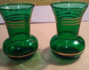 "Vintage Green Glass Gold Trim 3 1/2"" tall Vases"