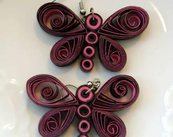 Paper Earrings, Quilled Black and Red Earrings, Dangle Earrings,Butterfley Earrings, Paper Quilling Jewelry, Anniversary Gift,Paper Gift