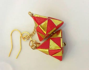Red and Gold Origami Jewelry - Pyramid Paper Earrings  - Paper Jewelry - Moular Origami Earrings-Dange Earrings