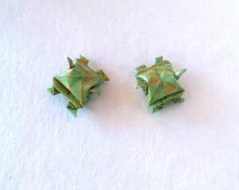 Origami Turtle Earrings-Studs Posts - Origami Paper-Origami Jewellery-Anniversary Gift-Washi Paper