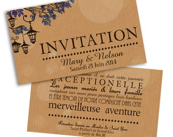 10 x lanterns wedding invitation cards