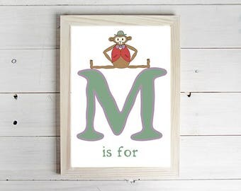 M is for Monkey Alphabet Print - Unframed Art Print, Monkey Drawing, Nursery Picture, Animal Wall Art, Children's Decor, Kid's Bedroom