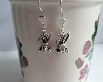 Sterling silver bunny rabbit heart earrings, Rabbit silver heart dangly earrings, Nature inspired jewellery, girly earrings, Easter gifts