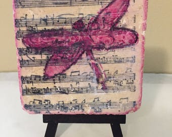 Dragonfly in Pink on sheet music with Easel Stand / cottage decor