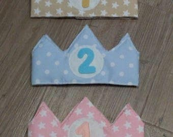 Children's crowns for birthday, with adjustable velcro closure