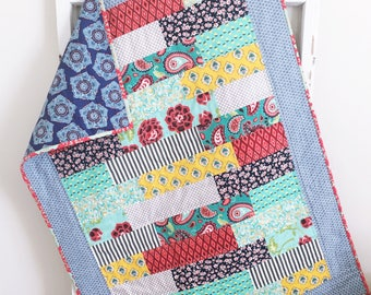 Baby Girl Quilt | Modern Baby Quilt | Red Blue Teal Quilt | Handmade Baby Quilts | Baby Bedding | Toddler Bedding | Crib Quilt