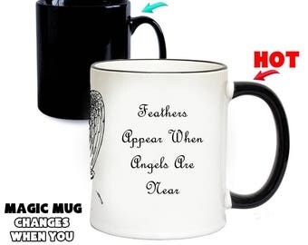 Feathers Appear When Angels Are Near Magic Mug | Colour Changing Mugs | Special Gifts | Funny Gift