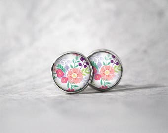 Earrings cabochon 10 mm / flowers