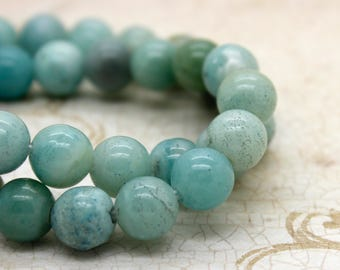 "Amazonite Smooth Round Gemstone 8mm 10mm Beads (8"" strand - 2.5 mm hole)"