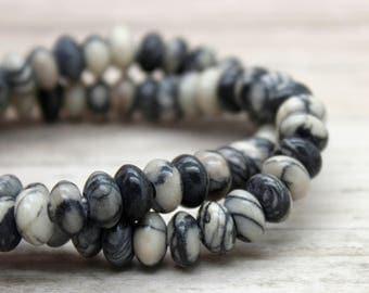 "Picasso Jasper Rondelle Gemstone Beads 8"" strand (5mm x 8mm beads, 2.5 mm hole)"