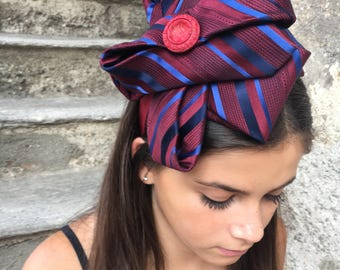 Silk satin headband made of vintage material