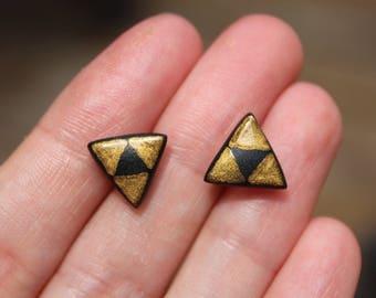 Legend of Zelda Earrings Jewelry, Zelda Triangle Studs, Zelda Triforce Earrings, Zelda Studs, Triforce Earrings, Black Gold Geometric Studs