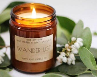 Wanderlust. Soy Candle. Scented Candle. Scented Soy Candle. Made in California . Wholesale Candles. White Tea and Ginger.