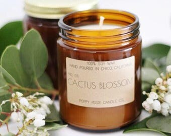 Cactus Blossom. Soy Candles. Soy Candle. Candles. Scented Candles. Candle Gift. Wholesale Candles. Made in California.