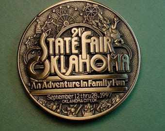 Oklahoma State Fair Medal  1997 Bronze And Beautiful  69 MM  Mint Condition<># ETB6073
