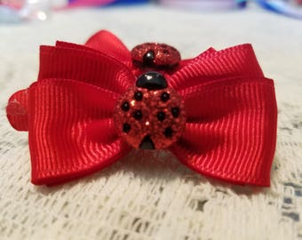 Red Hair Bow with Red Ladybug