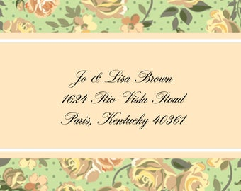 Pale Yellow Roses Address Labels