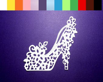 Floral Shoe Paper Die Cuts Color choice Cardstock Paper High Heeled Shoe, Floral Shoe Embellishments Scrapbooking Card Making - 8 pc