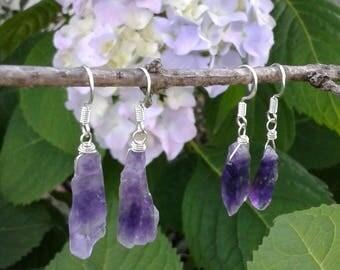Amethyst Earrings, Purple Gemstone Earrings, Raw Amethyst Dangle Earrings, Sterling Silver Wire Wrapped Amethyst, Healing Crystal Jewelry