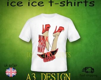 Aerosmith - walk this way - rock  - adult white t-shirt