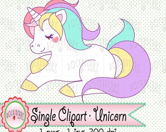 Single Pack (1) - Pastel Unicorn PNG & JPG Clip art Digital Download Printable Clipart Printable Scrapbook Color Birthday DIY Theme Party