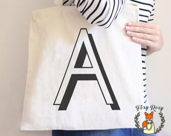 Initial Tote Bag, Monogram Tote Bag, Letter Shadow Custom Tote, Personalized Tote Bag, Shopping Bag, Letter Bag, TB-060