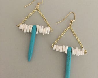 Turquoise & White Coral Earrings