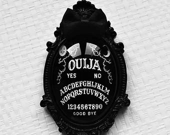 brooch cameo ouija board black bow satin gothic occult pagan esoteric spiritism witch wicca magic witchcraft witchy dark